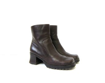 vintage 90s leather chelsea boots Dark brown ankle boots Chunky high heel boots zip up fashion boots DES Boots Womens Size 7.5