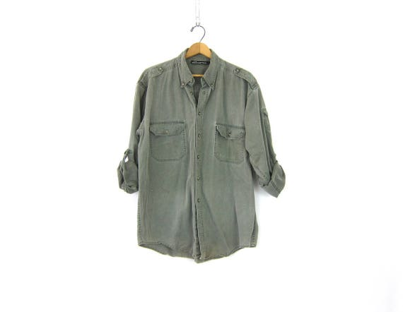 Washed out Cotton Shirt Faded Army Green Button Up Shirt Vintage Pocket Shirt Slouchy Rugged Oxford Shirt Men's Size Large DES