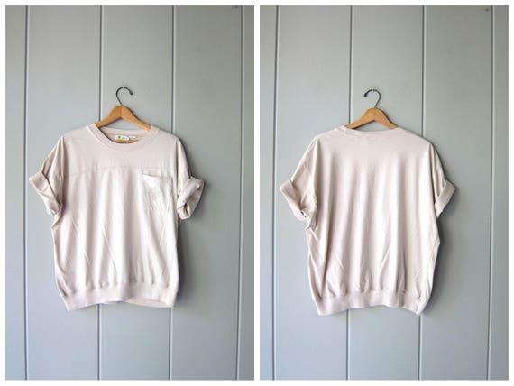 Vintage 80s Plain Tshirt Basic Oversized Tee Light Buff Beige Minimal Modern Slouchy Top Urban Normcore Cotton Tee Shirt Womens XL