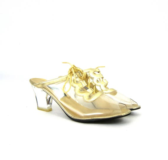 CLEAR Vinyl Shoes Hollywood Glamour Retro Dress Up Shoes See Through Slip On High Heels Gold Lace Shoes Women's Size 8