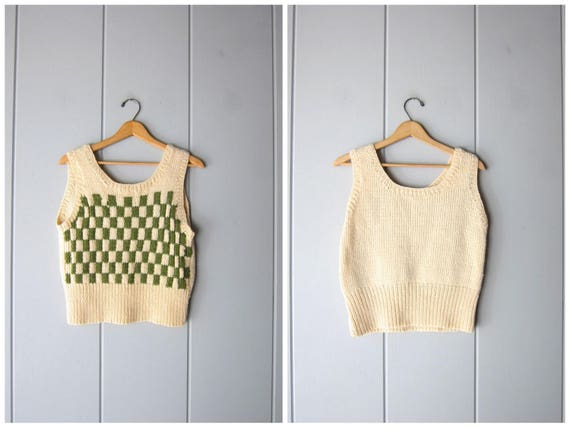 60s Checkered Sweater Vest Vintage 50s Knit Vest Olive Green & Cream Sleeveless Prep Sweater Thick Knit Tank Top Louanne Womens Small Medium