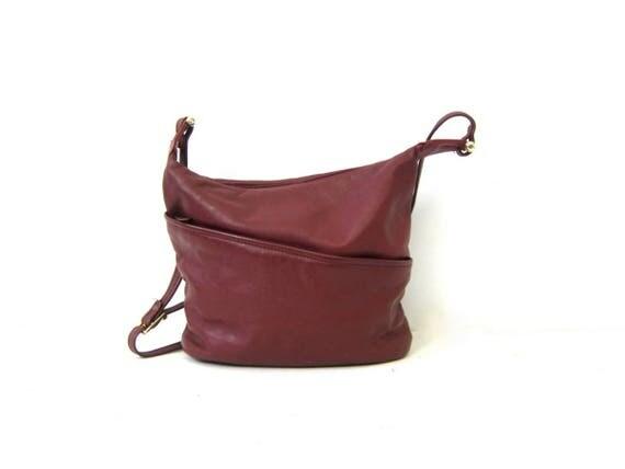 Berry Purple Leather Purse Crossbody Bag Vintage 1980s Cross Body Shoulder bag Women's Fashion Purse GS
