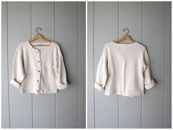 90s White Cotton Sweater Thick Knit Button Up Cardigan Sweater Boxy Minimal Woven Sweater Vintage Preppy Basic Sweater Top Womens Medium