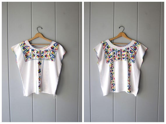 Embroidered Mexican Shirt Boxy White Cotton Top Oversized Hippie Shirt Boho 80s Ethnic Floral Top Embroidery Traditional Womens Large