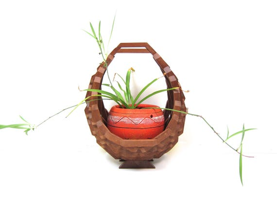 BIG Geometric Wooden Plant Basket Modern Folk Art Craft Hanging Wood Plant Holder 1970s BOHO Decor Large Natural Plant Hanger Basket Vintage