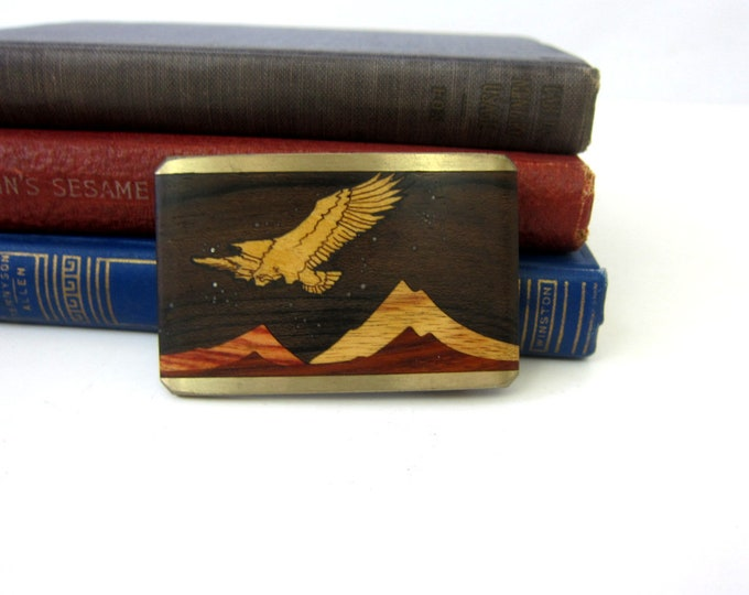 Sky West Belt Buckle Solid Brass metal Buckle vintage Eagle and Mountains Albuquerque New Mexico Southwestern Wood inlay