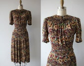 Reserved / 1940s vintage dress / 40s floral rayon jersey dress / late 1930s rayon jersey dress / flower & paisley home front sweetie dress