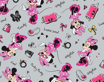 Disney Fabric - Minnie Mouse Fashionista Toss Gray - Springs CP50692 YARD