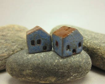 READY TO SHIP...Miniature Terracotta House Beads...Set of 2...Textured Blue Walls/Brown Roof