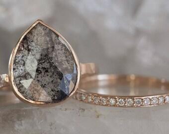 Large Natural Black Rose Cut Diamond Ring