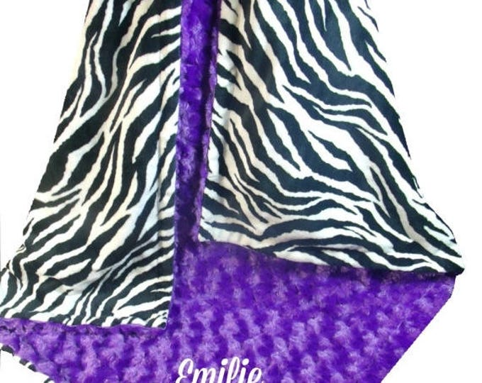 SALE Purple Rose Swirl and Zebra Print Minky Dot Baby Blanket, available in three sizes Can Be Personalized