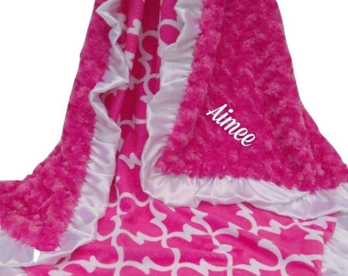 SALE Fuchsia Hot Pink Swirl and Quatrefoil Print Minky Baby Blanket, Modern Geometric Girls Blanket in Pink and White, personalized, three s