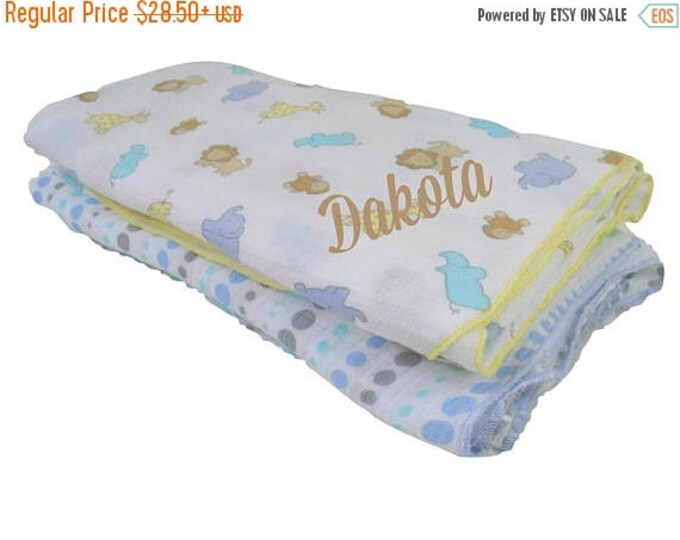 SALE Woodland Animal Print Muslin Cotton Swaddle Blankets, Embroidered Lightweight Cotton Summer Baby Blanket