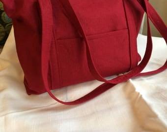 Valentine Red Linen Handbag