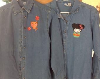 Denim shirts with Kokeshi girl appliques