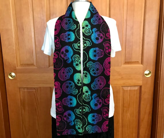 Bkanket Scarf Unisex Neon Sugar Skulls 67 x 6 Blanket Weight Wool