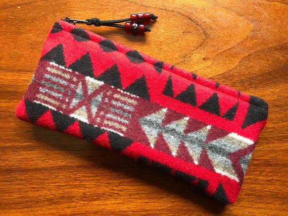 Wool Sunglasses Case / Glasses  Case / Tampon Case / Zippered Pouch Red & Black