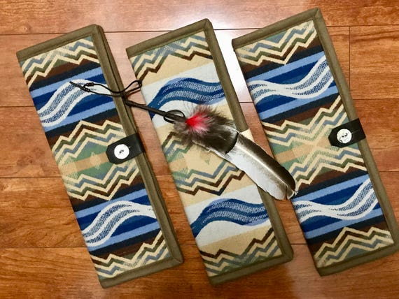 Feather Holder / Feather Case XL Wool Mountains & Waves Collection