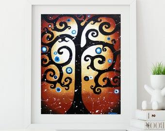 Curly Tree of Life Whimsical Art Print, Swirly Tree Wall Art Red Decor, Rustic Woodland Decor