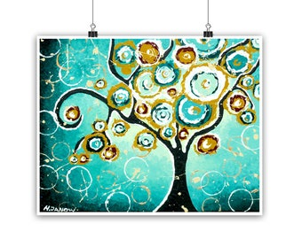 Tree Print, Turquoise Wall Art Whimsical Tree of Life Curly Tree Woodland Living Room Decor