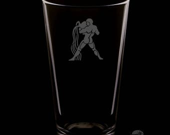 Aquarius 16 Ounce Personalized Rim Tempered Pint Glass