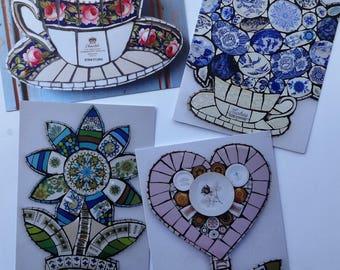 Pack of 4 Blank Greetings Card, Vintage Crockery Mosaic