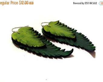 40% OFF SALE Leather earrings. Long dangle feather leather earrings. Green color