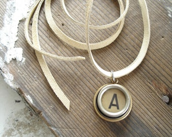 Typewriter Key Jewelry. Letter A Necklace. Vintage Typewriter Key Necklace. Personalized Initial. Adjustable Leather Necklace. Unisex Gift.