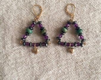 Amethyst Gold Heart Earrings - OOAK amethyst earrings - dangle - serpentine -Swarovski crystals - boho - pyramid - gypsy - troppobella