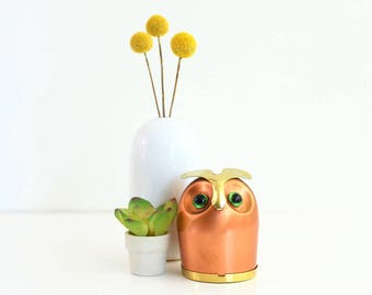Mid Century Copper and Brass Owl Bank by Coppercraft Guild / Copper Owl Bank / Vintage Bank / Vintage Metal Bank / Vintage Owl Bank