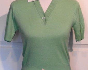 NOS Vintage Green and White Pin Up Sweater Top B34 Mademoiselle Fifth Ave Orlon