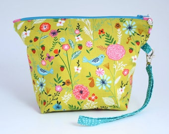 Bird print project bag, zipped bag, pouch for knitting or crochet