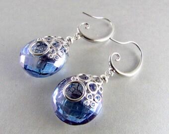 Denim Blue Quartz Bubble Earrings, Silver And Blue Quartz Earrings, Ocean Earrings