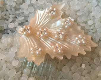 vintage hair comb ,soft white leaf with  faux pearl,