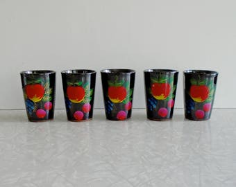 tole fruit cups set, hand painted in japan, bright colors on black, set of five, vintage juice glasses, small tumblers, ceramic cups, gift