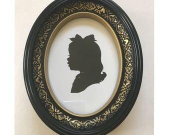 FRAMED Custom Silhouette Portrait in Real Disneyland Frame