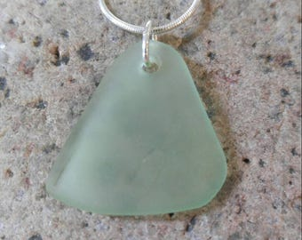 18 inch sterling silver snake chain with a simple spring green sea glass pendant