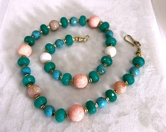 FLASH SALE Colorful Beaded Necklace Chunky Choker Green Agate Jade Turquoise Coral Gemstone Summer Jewelry Statement Necklace