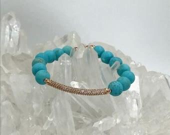 Stretch Bracelet Stack Bracelet Turquoise Bracelet Rose Gold CZ Bar Boho Bracelet Stretch Layering Beach Bracelet Turquoise Bracelet Yoga