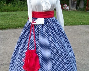 Dickens Christmas,Civil War,Victorian,costume Long drawstring Skirt Dark Royal Blue and White Cotton print and Red Sash one size fit all