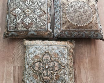 vintage silk ethnic decorative  small embroidered pillows       Only 3 pillows included