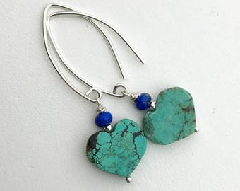 Turquoise and Lapis Heart Earrings with Solid 925 Sterling Silver. Lapis Lazuli, Turquoise and Sterling Silver Jewelry
