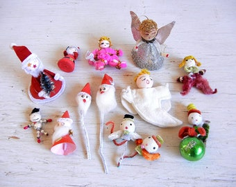 13 Vintage Christmas Spun Head Figures | Santas Angels Pixies | Spun Cotton | Japan