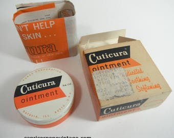 Vintage Cuticura Ointment Tin in Box with Pamphlet NOS 1960s Vintage Packaging Mid Century Pharmacy Vintage Bathroom Decor Movie Prop