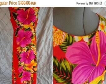 "ON SALE 60s 70s Dress //  Vintage 1960s 1970s Pink Orange Floral Hawaiian Dress by Pomare Tahiti Size M L 31"" waist"