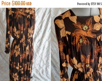 ON SALE 80s Dress //  Vintage 1980's Brown Rayon Floral Print Dress by Eric Laage Paris Size M L Made in France