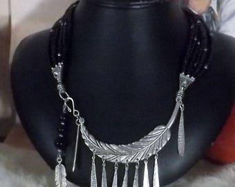 Striking Southwest  6 Strand Black Feather Bib  Necklace