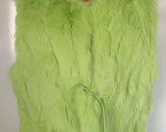 Vintage Retro Lime Green Faux Fur Vest Boho Vest Super fun