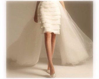 Detachable Skirt,Removable Train,Lace Wedding Dress,4 Layer,Sweet 16 Dress,Detachable Train,Short Wedding Dress,Beach Wedding