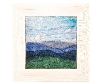 Wool Landscape Painting - Needle Felted Fiber Art Landscape - Blueridge Vista (6x6 Maple Frame)